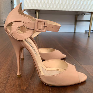 Brian Atwood Nude Patent Heeled Sandals